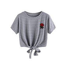Choies Damen Knot Shirt Rose Stickerei Crop Top Rundhals Kurzarm Bauchfrei Tie up Sommer Oberteil Top Grau M