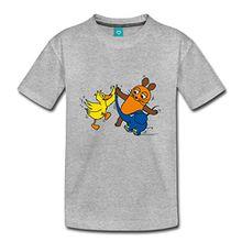 Spreadshirt Sendung Mit Der Maus Tanzt Mit Elefant Und Ente Kinder Premium T-Shirt, 98/104 (2 Jahre), Grau meliert