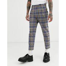 ASOS DESIGN – Elegante, kurz geschnittene und schmal zulaufende Hose mit grauen und blauen Karos und Metallkette