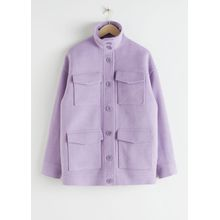 Oversized Wool Blend Utility Jacket - Purple
