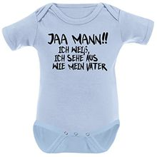Mikalino Babybody Jaa Mann!! Ich weiss, ich sehe aus, wie mein Vater schwarz print, Grösse:62, Farbe:sky
