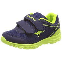 KangaROOS Unisex-Kinder Korro Sneaker, Blau (Dk Navy/Lime), 35 EU