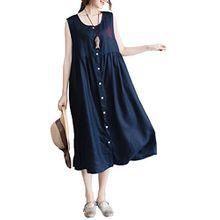 Vogstyle Damen Tunika Kleid, Einfarbig Gr. Large, Marine Bleu