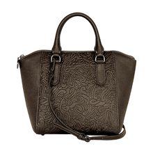 Silvio Tossi Lederhand- und Schultertasche mit Fantasie-Prägung Handtaschen grau Damen