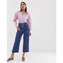 Vero Moda - Kurz geschnittene Jeans mit weitem Bein, hoher Taille und Gürtel - Blau