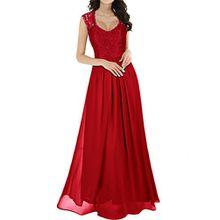 Miusol Damen Aermellos V-Ausschnitt Spitzenkleid Brautjungfer Cocktailkleid Chiffon Faltenrock Langes Kleid Rot Groesse 48/XXL