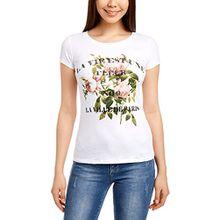 oodji Ultra Damen Kurzärmeliges T-Shirt mit Blumendruck und Schriftprint, Weiß, DE 34/EU 36/XS