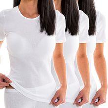 HERMKO 1800 3er Pack Damen kurzarm Unterhemd, Farbe:weiß, Größe:36/38 (S)