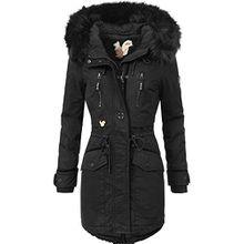 Khujo Damen Winter Mantel Winterparka YM-JA Schwarz Gr. XXL