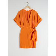 Kimono Wrap Mini Dress - Orange