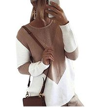Bohai Women's Autumn and Winter Long-Sleeved Round Neck Hollow Knitted Pullover Loose Stitching Knitted Pullover Sweater Jumper Pullover