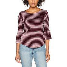 TOM TAILOR Denim Damen Langarmshirt Striped Bellsleeve Top, Rot (Mauve Wine Red 4426), 38 (Herstellergröße: M)
