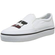 Tommy Hilfiger Damen Tommy Sequins Flatform Sneaker, Weiß (White 100), 40 EU