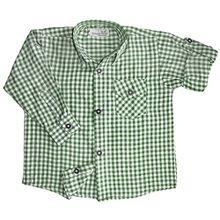 Kinder Trachtenhemd für Trachtenlederhosen Oktoberfest Trachtenmode grün/karo, Größe:104/110