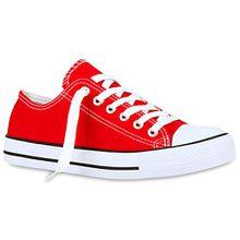Stiefelparadies Sportliche Damen Schuhe Sneakers Low Freizeit Turnschuhe Schuhe 114400 Rot 38 Flandell