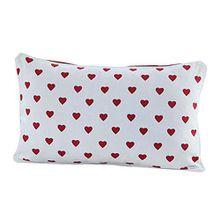 Homescapes dekorative Kissenhülle Hearts, rot, 30 x 50 cm, Kissenbezug mit Reißverschluss aus 100% reiner Baumwolle