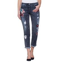 Damen Boyfriend-Jeans in aufwändiger Waschung by Alba Moda Red
