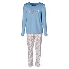 Skiny Pyjama 'Cosy Night Sleep' hellblau / altrosa