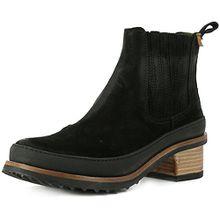 El Naturalista N5121 Kentia Komfortabler Damen Chelsea Boot, Stiefelette, Schlupfstiefel, Perfekte Passform durch Gummizug, Blockabsatz Schwarz (Black-Black), EU 39