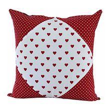 Homescapes dekorative Kissenhülle Hearts & Polka Dots, rot, 45 x 45 cm, Kissenbezug mit Reißverschluss aus 100% reiner Baumwolle