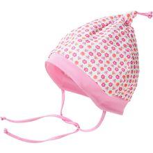 Mütze zum Binden  rosa/weiß Mädchen Baby