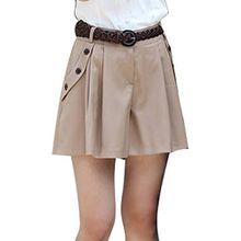Minetom Damen Maedchen Elegant Hot Kurz Hosenrock Shorts OL Pants Hose Stoffhose Business Khaki EU XL