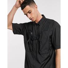 ASOS WHITE – Schwarzes Nylonhemd mit 3D-Taschen