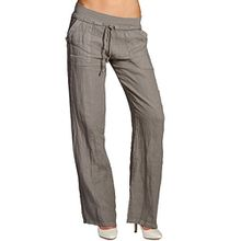 CASPAR KHS025 Damen Leinenhose, Farbe:taupe;Größe:38 M UK10 US8