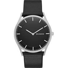 SKAGEN Armbanduhr 'Holst' schwarz / silber