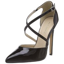 Pleaser Devious SEXY-26, Damen Knöchelriemchen Pumps, Schwarz (Blk Pat), 35 EU (2 Damen UK)