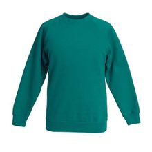 Fruite of the Loom Kinder Raglan Sweatshirt, Smaragdgrün, Gr.140