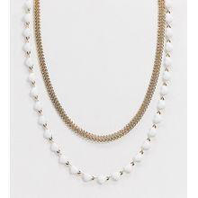 Reclaimed Vintage Inspired – Goldene Choker-Halsketten mit Herzdesign im 2er-Pack