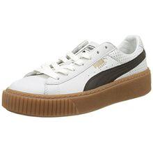 Puma Damen Basket Platform Perf Gum Sneaker, Weiß White-Black-Gold, 40 EU