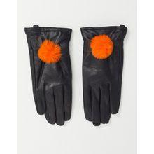 Jayley – Handschuhe aus Lammleder mit Kunstfellbommel-Schwarz