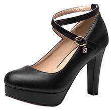 AIYOUMEI Damen Knöchelriemchen Pumps mit Plateau und Dicker Absatz High Heel Party Hochzeit Schuhe