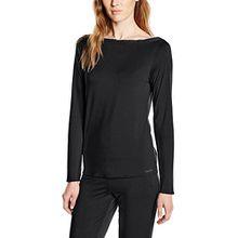 Calvin Klein Damen Schlafshirt  0000S2634E / L/S PJ TOP, Gr. 38 (M), Schwarz (001 BLACK)