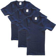 HERMKO 2810 3er Pack Kinder kurzarm Unterhemd für Mädchen + Jungen, Farbe:marine, Größe:104