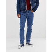 Levi's 501 - Schmal zulaufende, elastische Jeans mit tiefem Bund in mittlerer Stone-Waschung und Used-Optik - Blau
