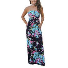 Yieune Sommerkleider Damen Blumen Maxikleid Ärmellos Abendkleid Lose Striped Strandkleid Party Shift Jerseykleid (Marine S)