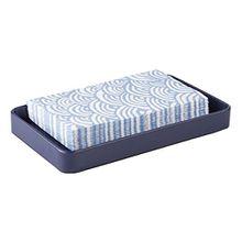 mDesign Bad Organizer – Badezimmer Tablett als Handtuchablage – auch zur Kosmetikaufbewahrung und für Parfüm geeignet – mattes Navyblau