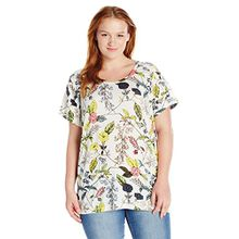Junarose Damen Jramandy SS T-Shirt-S, Mehrfarbig (Snow White AOP:Snow White AOP), 44 (Herstellergröße: Oversize M)