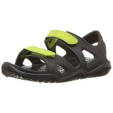 crocs Unisex-Kinder Swiftwater River Sandal, Schwarz (Black/Volt Green 09w), 34/35 EU