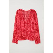 H & M - Bluse mit V-Ausschnitt - Red - Damen