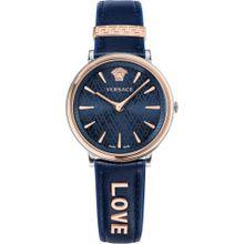 VERSACE Schweizer Uhr 'VBP090017' (Set, 2 tlg.) dunkelblau / rosegold