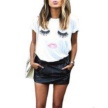 EAAMU® Damen Sommer Rundhals Kurzarm Shirt Wimper Lippen Printed Kurzarm T-Shirt Lose Bluse Tops Weiß