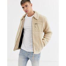 New Look – Borg-Jacke mit kontrastierenden Taschen in Creme-Beige
