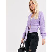 Missguided - Strickjacke mit Gürtel und Ballonärmeln in Lila - Violett