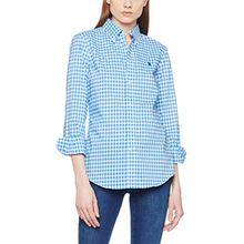 Polo Ralph Lauren Damen Hemd BD Kendal-Long Sleeve-Shirt Poplin Gingham, Mehrfarbig (313A Summer Blue/White XW9AB), Large (Herstellergröße: 10)
