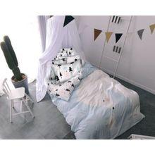 Wende- Kinderbettwäsche Eisbär, Satin, 135 x 200 cm