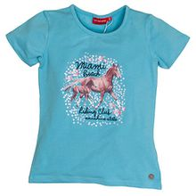 SALT AND PEPPER Mädchen T-Shirt Horses Photoprint, Blau (Fresh Blue 420), 116 (Herstellergröße: 116/122)